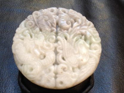 Delicate Round Dragon Phoenix Handmade Jade Pendant