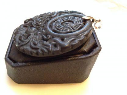Black Round Double Dragons Handmade Jade Pendant