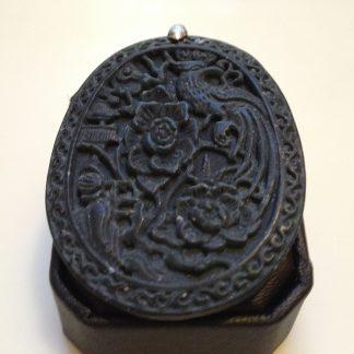 Black Oval Flower Phoenix Handmade Jade Pendant