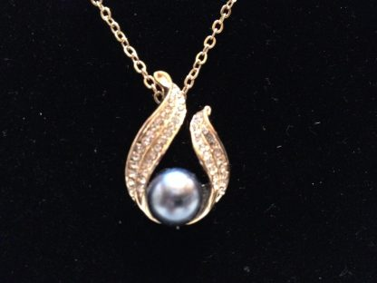 Faux Pearl Crystal Rhinestones Pendant Necklace Fashion Jewelry