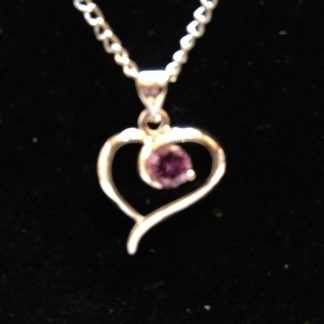 Purple Crystal Heart Pendant Necklace Women Fashion Jewelry