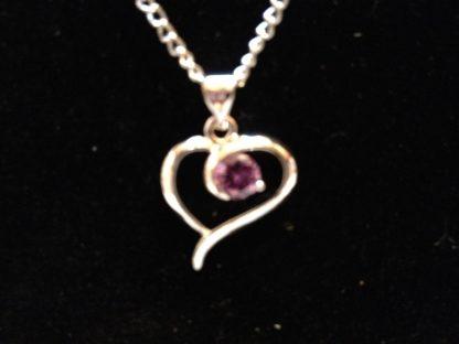 Purple Crystal Heart Pendant Necklace Women Fashion Jewelry