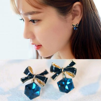 Square Blue Rhinestone Crystal Stud Earrings Women Fashion Jewelry