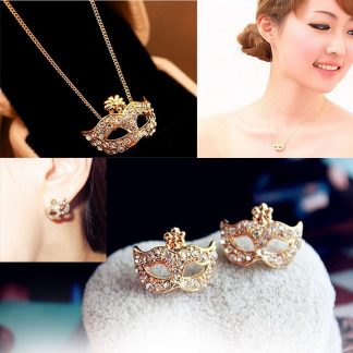 Gorgeous Mask Necklace Earrings Women Fashion Jewelry Set