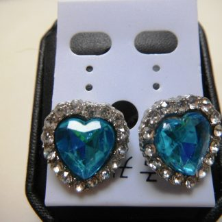 Blue Crystal Rhinestones Heart Women Earrings Fashion Jewelry