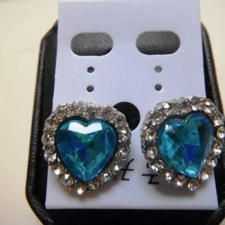 BlueCrystal Rhinestones Heart Women Earrings Fashion Jewelry