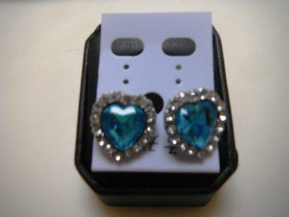 BlueCrystal Rhinestones Heart Earrings Women Fashion Jewelry