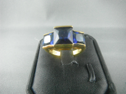 Blue Lab Sapphire Rhinestones Women Ring Fashion Jewelry