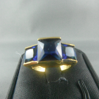 Blue Lab Sapphire Rhinestones Women Ring Fashion Jewelry