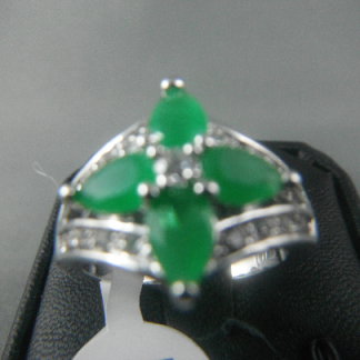 Green Lab Jade Rhinestones Women Ring Fashion Jewelry