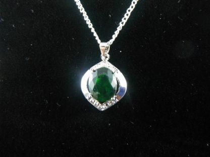 Green Crystal Rhinestones Pendant Necklace