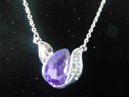 Crystal Rhinestone Leaf Pendant Necklace