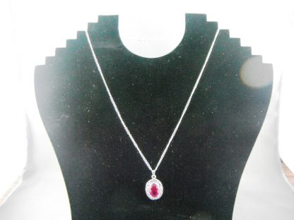 Red Or Pink Crystal Rhinestones Pendant Necklace