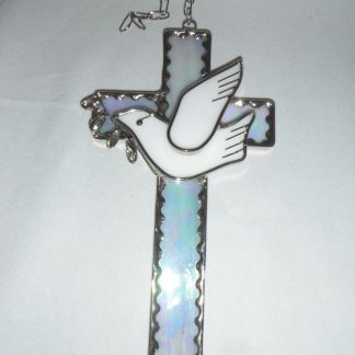 Stained Glass Handmade Dove Cross Sun Catcher