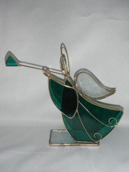 Green Stained Glass Handmade Christmas Display Angel