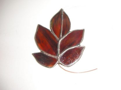 Brown Stained Glass Handmade Leaf Sun Catcher